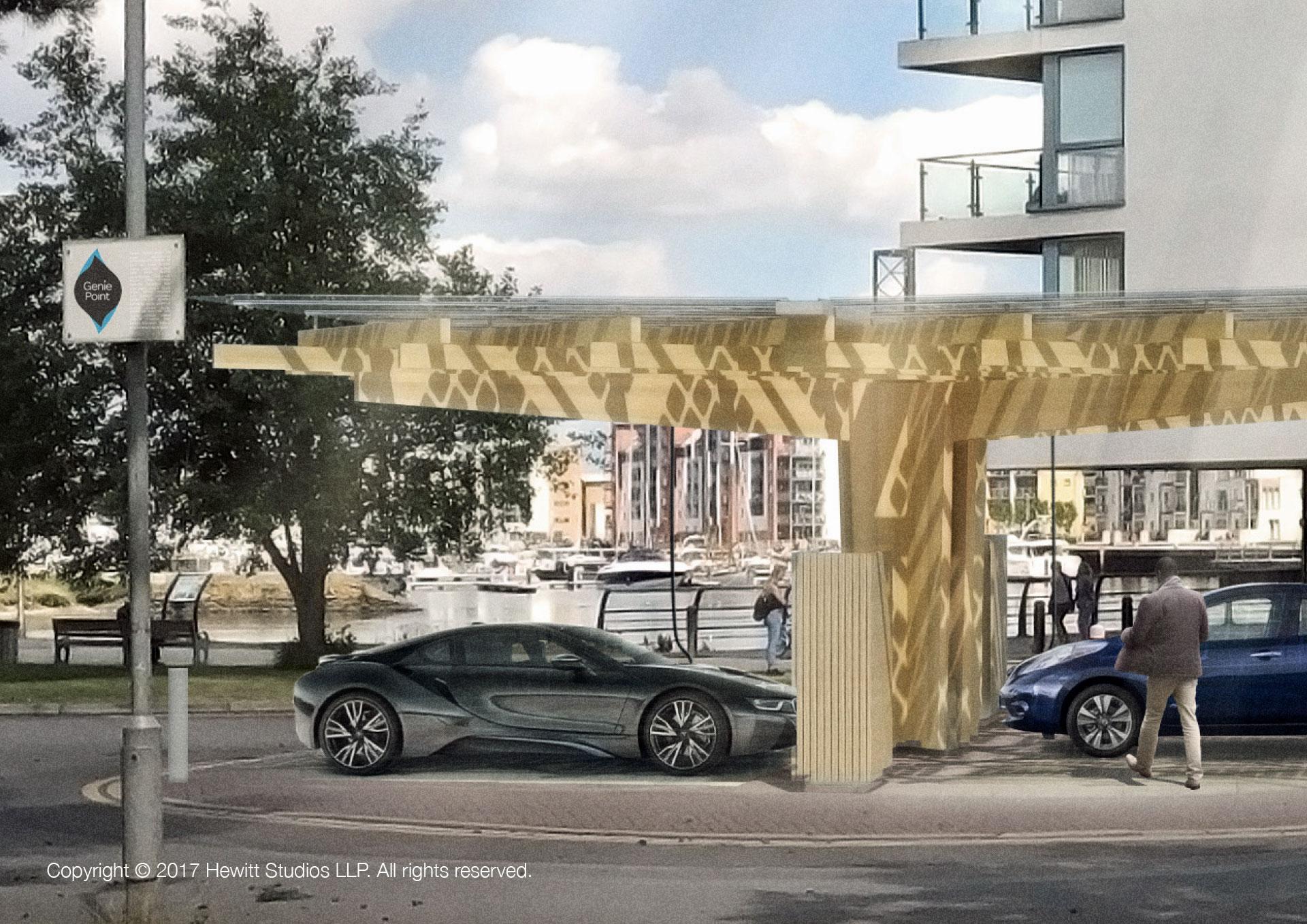 KPort Marina EV charging hub canopy Timber Structure BIPV BMW i8 Leaf