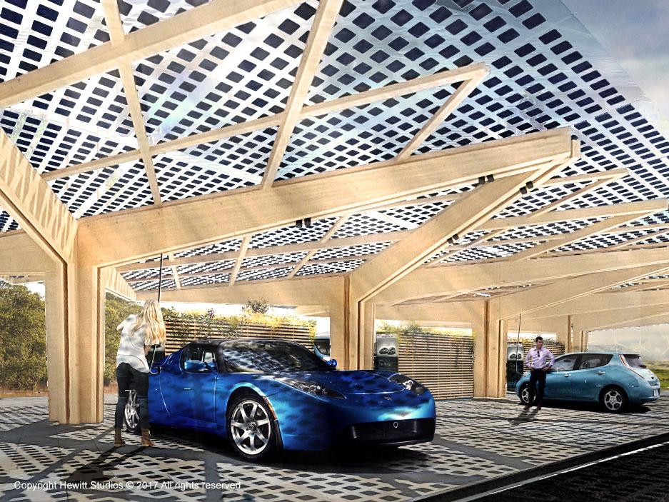 EV charging hub canopy timber structure BIPV Tesla Leaf