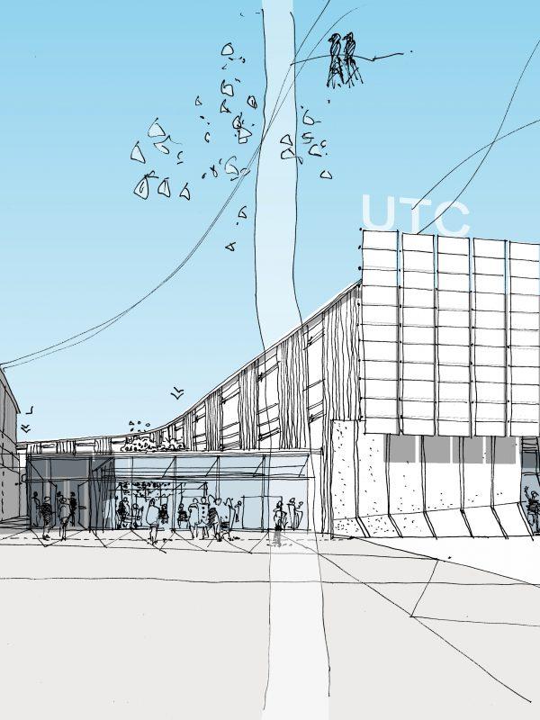 Berkeley UTC Architect Line Sketch Hand Drawn