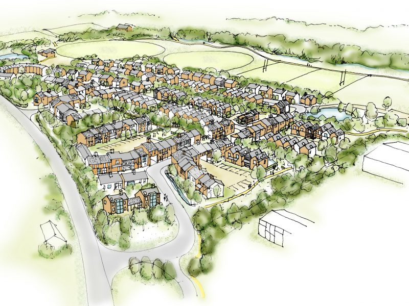 Porthouse Farm Bromyard Residential Housing Live Work Aerial Sketch