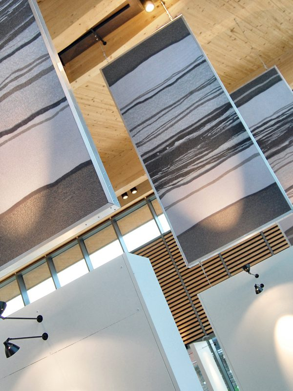HCA Hub Arts Space Gill Hewitt Textiles Strata Acoustic Panels CLT Laminated Timber