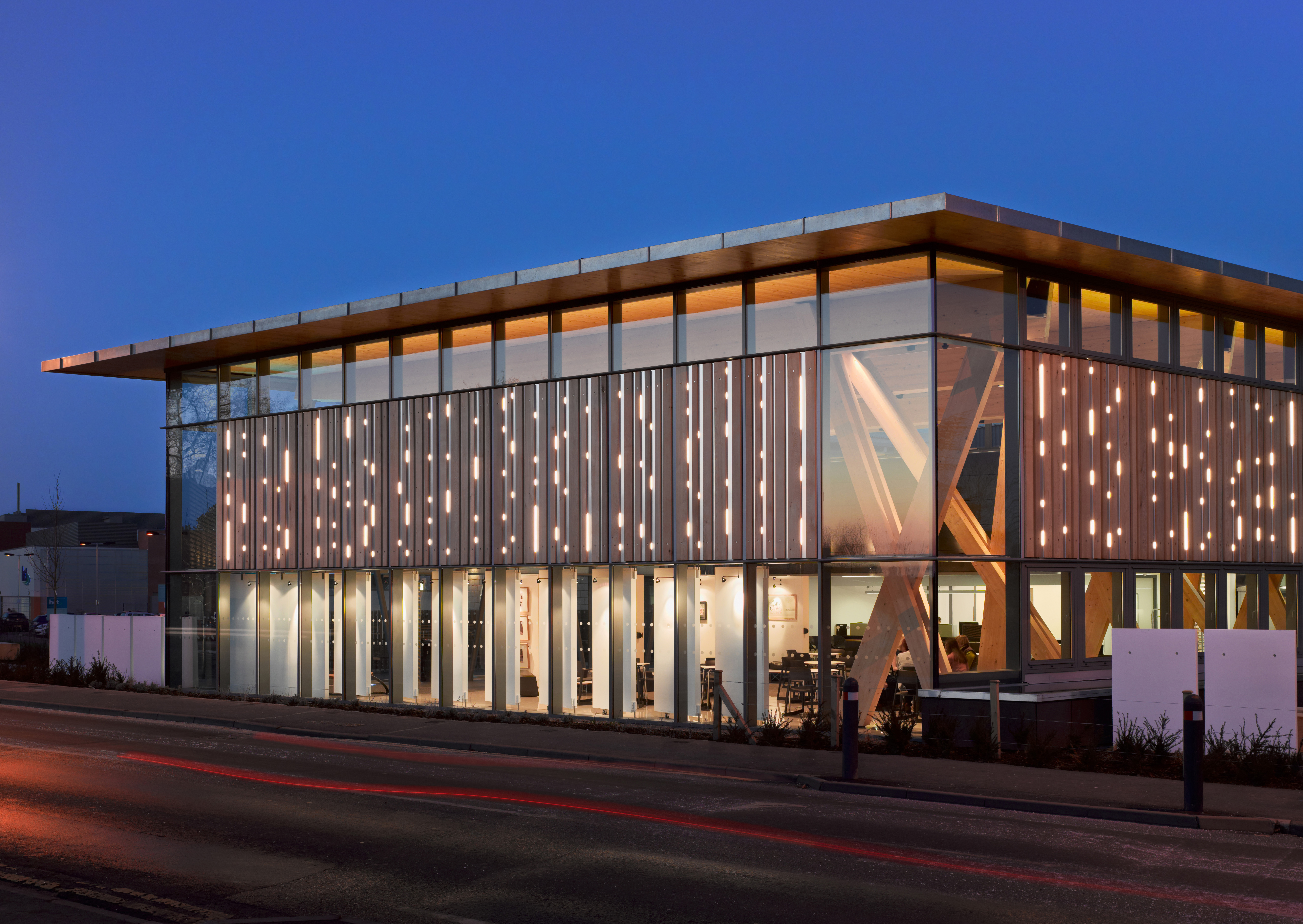 HCA Arts Space Dusk Photograph LED Lighting Timber Cladding Structure