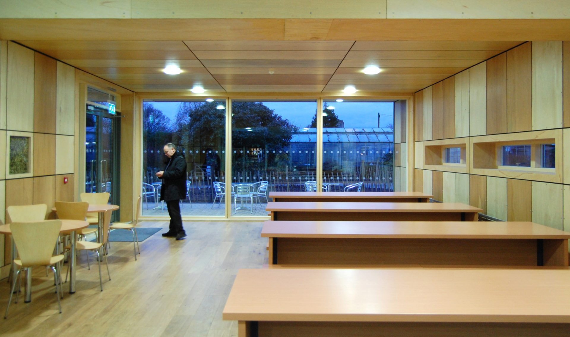 Straw Bale Cafe Interior showing plywood cladding