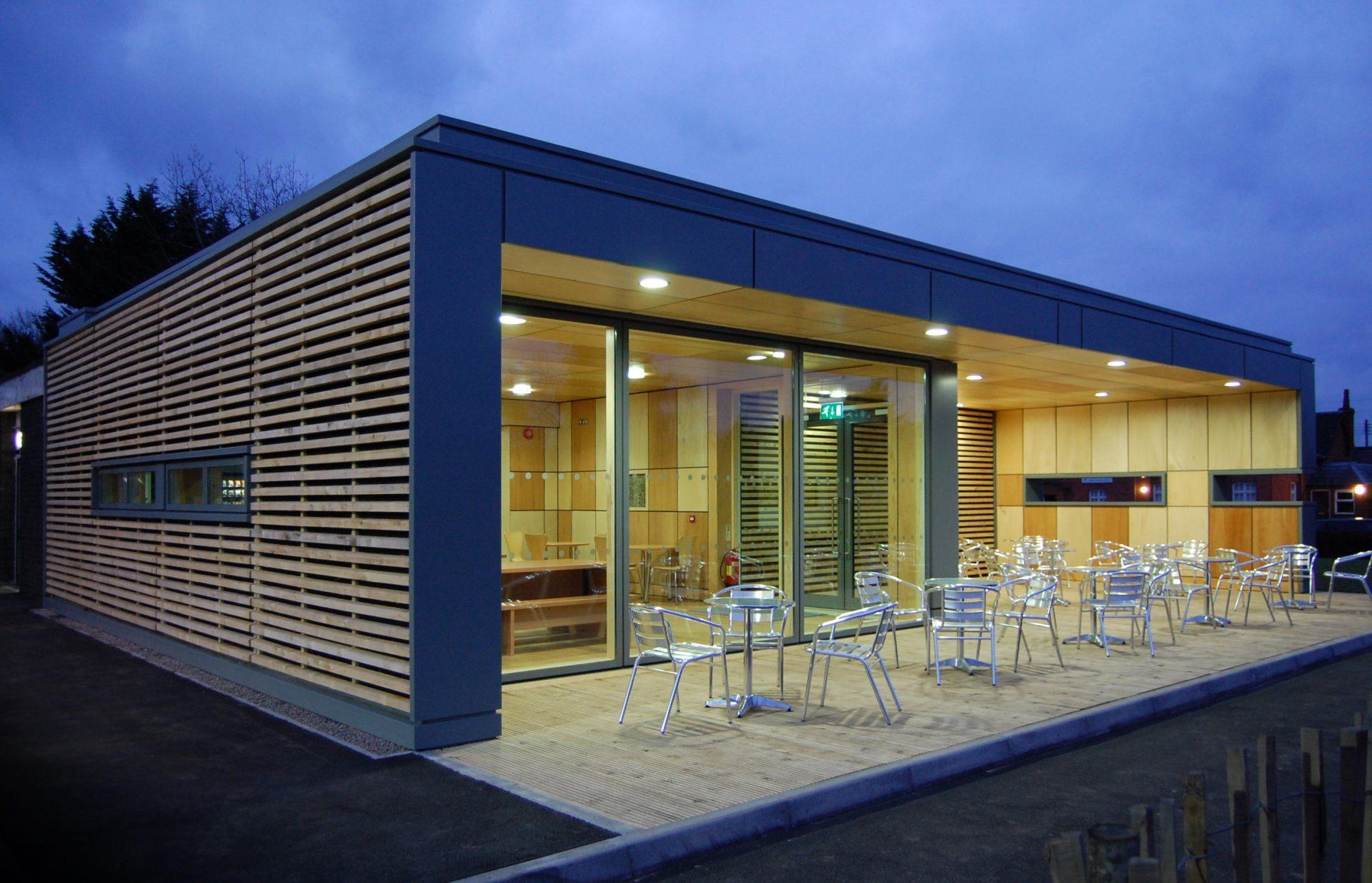 Straw Bale Cafe Exterior Plywood Cedar Velfac Decking