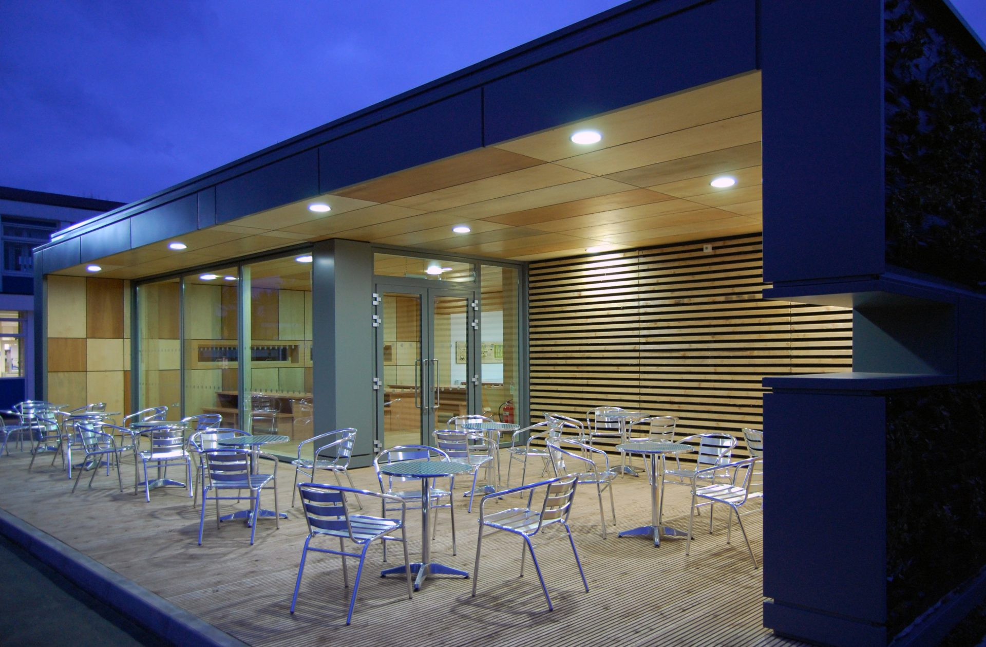 Straw Bale Cafe Night Plywood Cedar Tables Chairs
