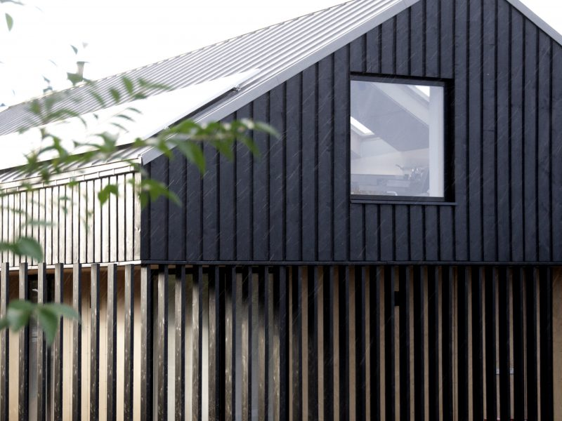 Hemp House Gower Black Larch Cladding Plywood Rain