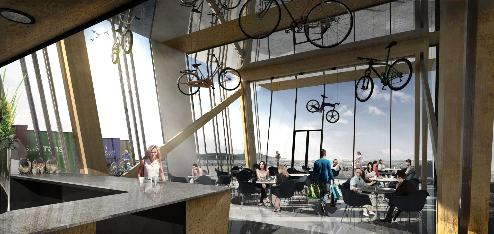 Weston-super-Mare Cycle Activities Centre Bar Cafe Cladding Laminated Timber Frame