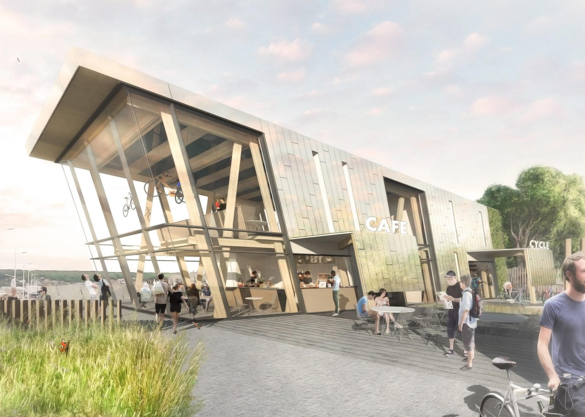 Weston-super-Mare Cycle Activities Centre Cafe Cladding Laminated Timber Frame Hipster