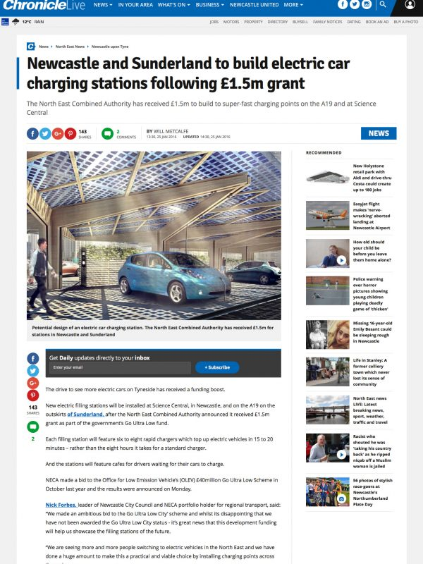 Newcastle Chronicle K:Port EV Charging Hub Canopy