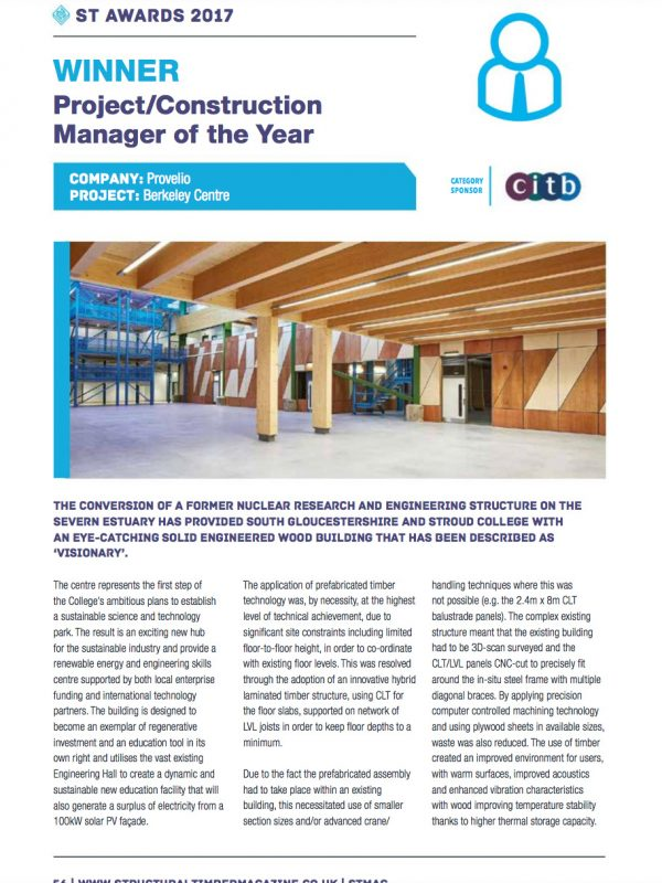 Structural Timber Awards Berkeley Green PM Provelio