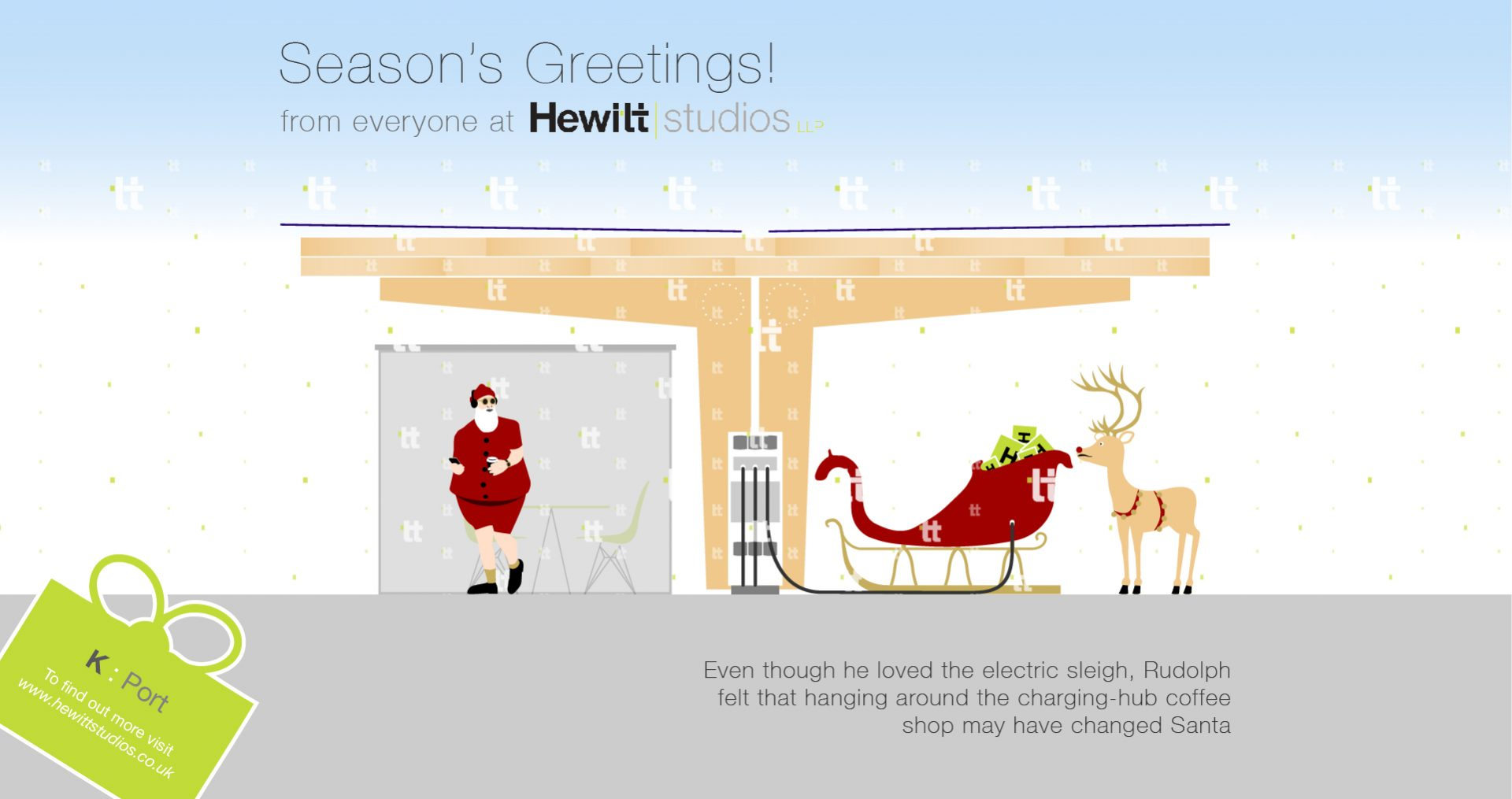 Seasons Greetings Hewitt Studios Hipster Santa Xmas