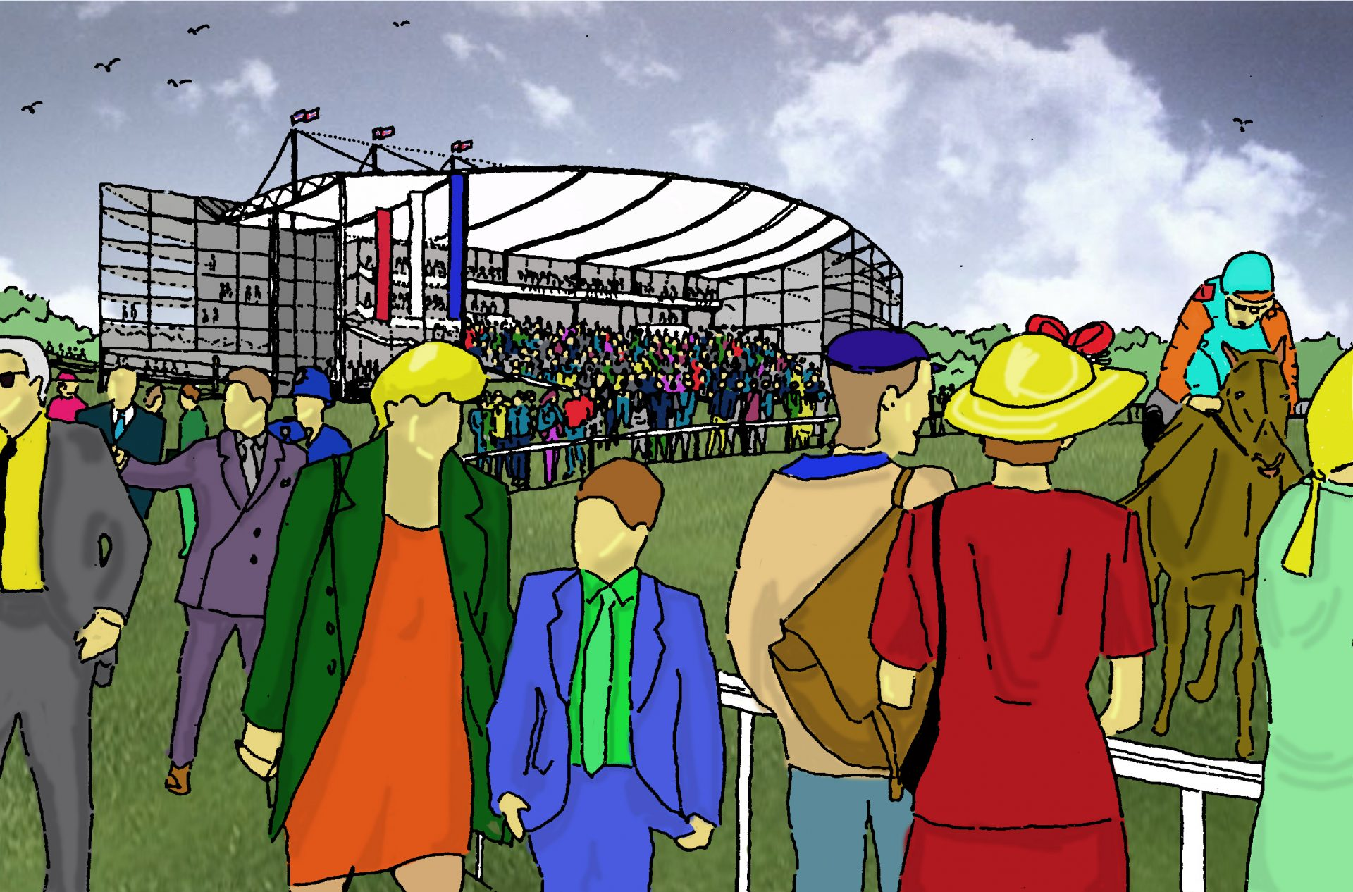 Worcester Racecourse Sketch Visual