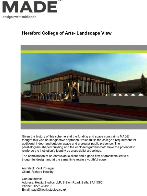 HCA Hub Hereford College of Arts MADE Design Review Feedback