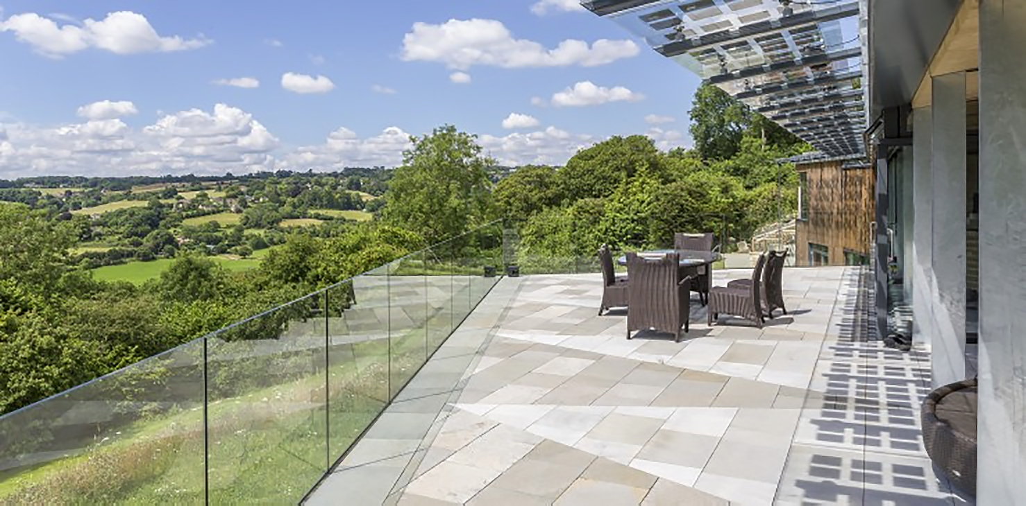 Limpley Stoke Eco-House Summer Terrace Purbeck Stone Glass Balustrade BPIV Shadows