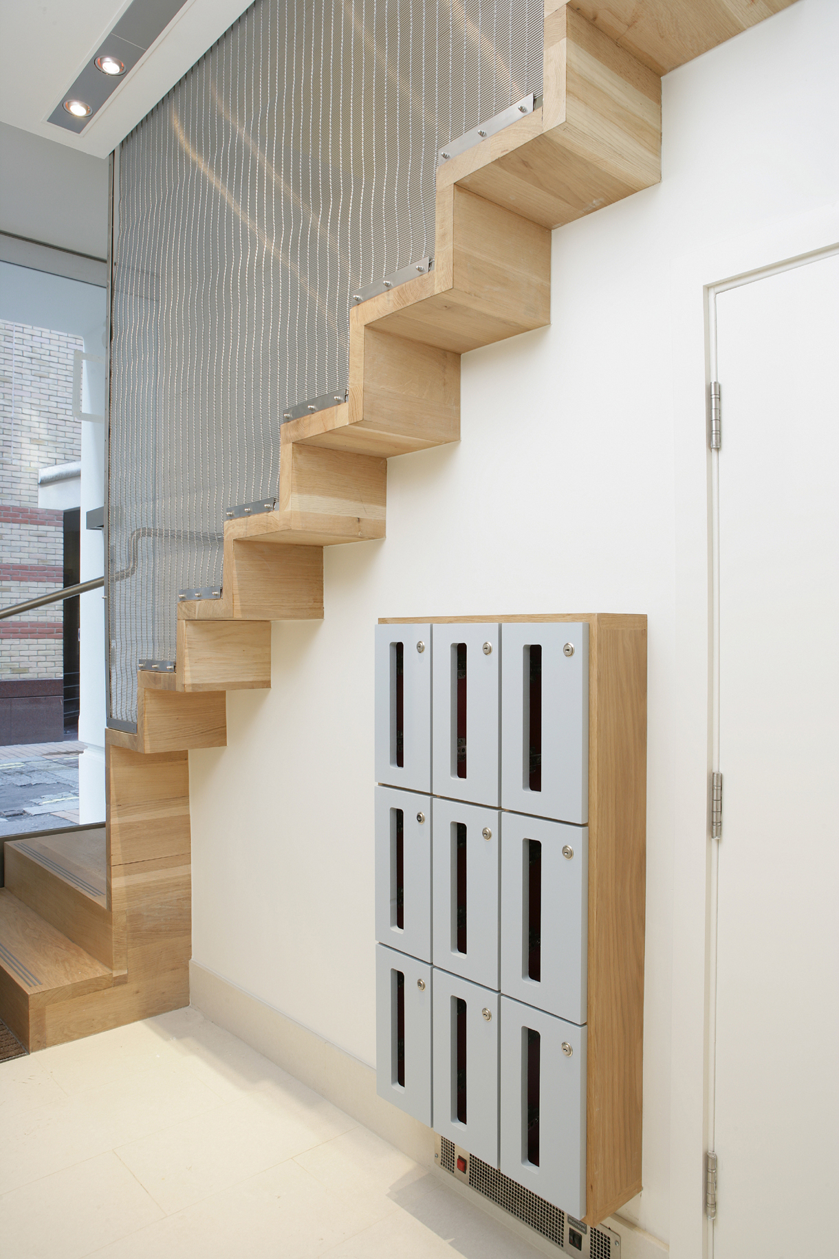 Kingly Street Timber Mesh Staircase Entrance Lockers