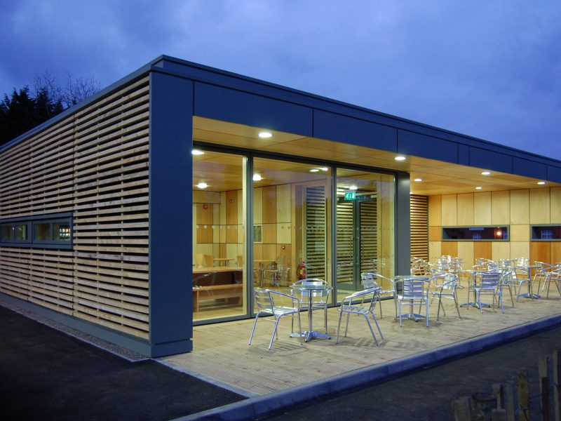 Straw Bale Cafe Plywood Cedar Cladding Decking