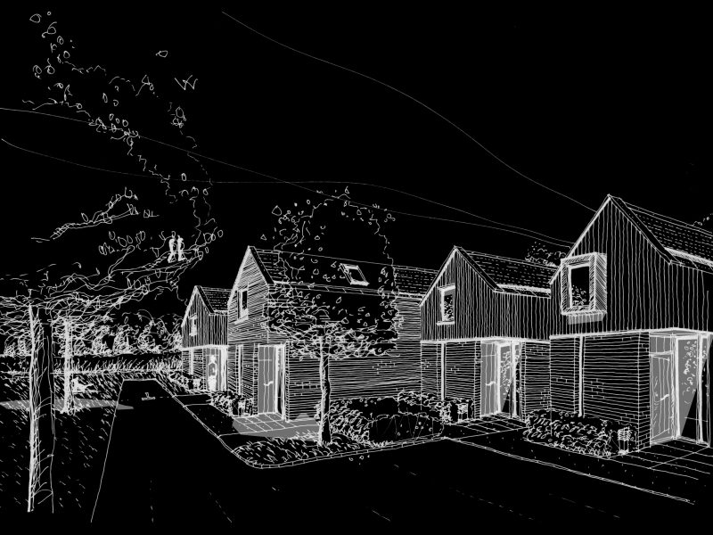 Aston Cross Housing Tewkesbury Architects Sketch Inverted