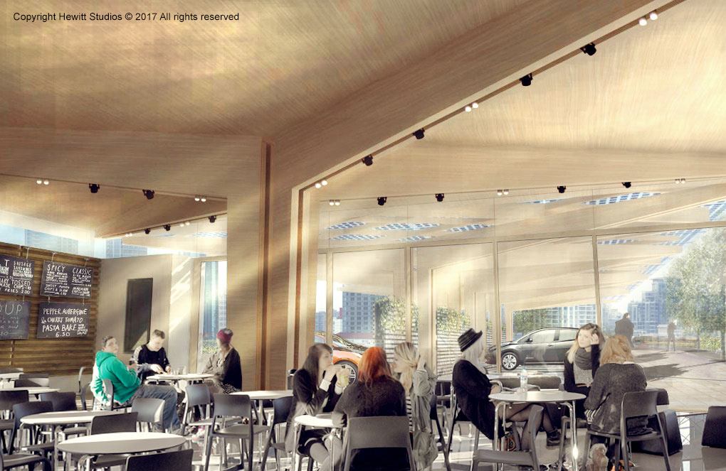 EV charging hub canopy with timber structure and cafe