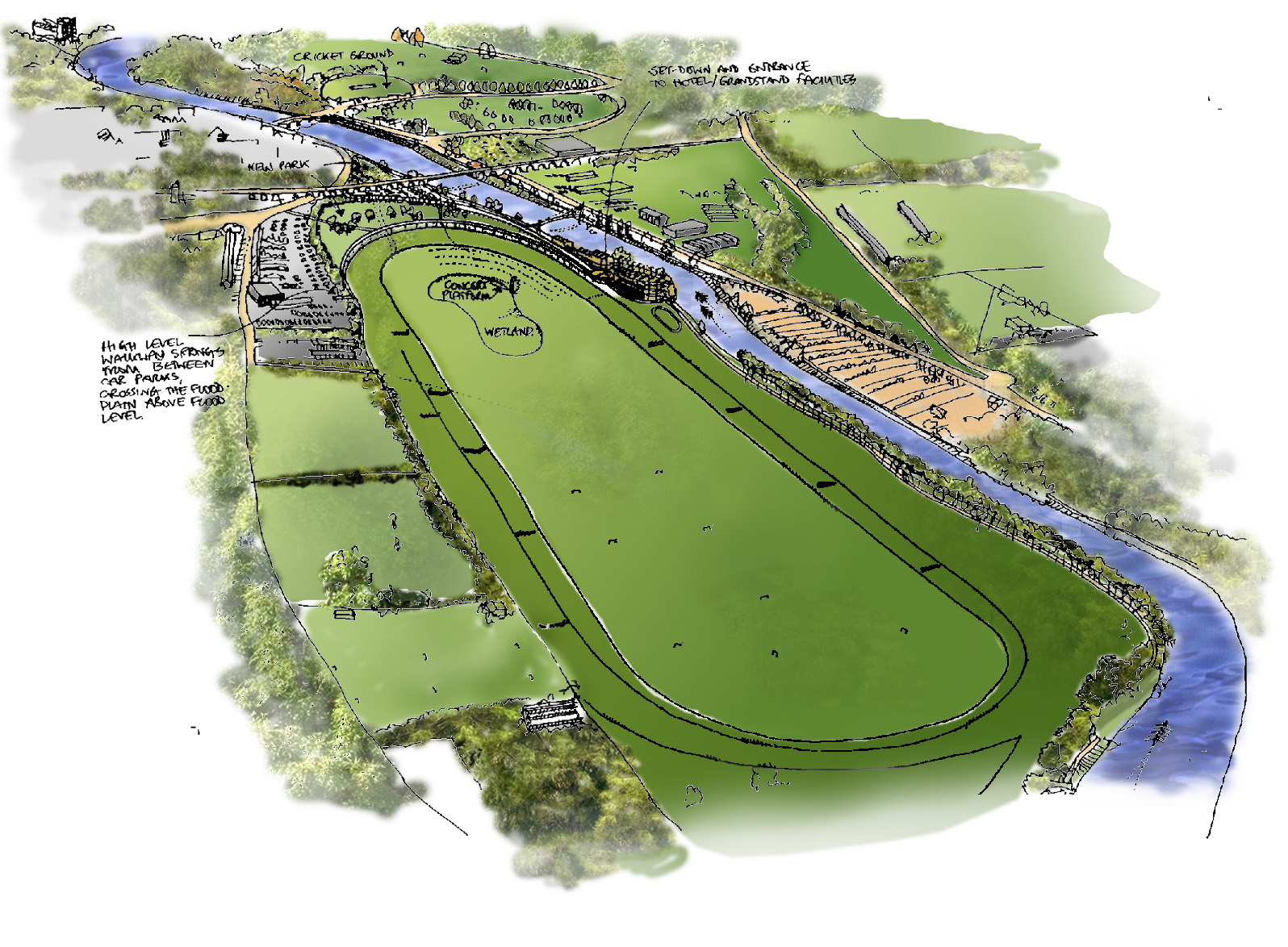 Worcester Racecourse Sketch Aerial View