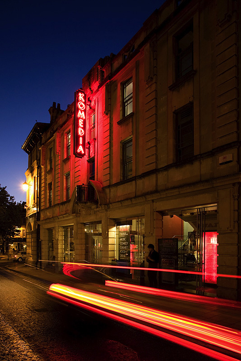Komedia Bath Comedy Club Cafe Bar Night Light Trails