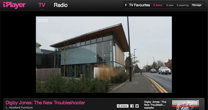 Hereford College of Arts HCA Hub Arts Space BBC iplayer Digby Jones Troubleshooter