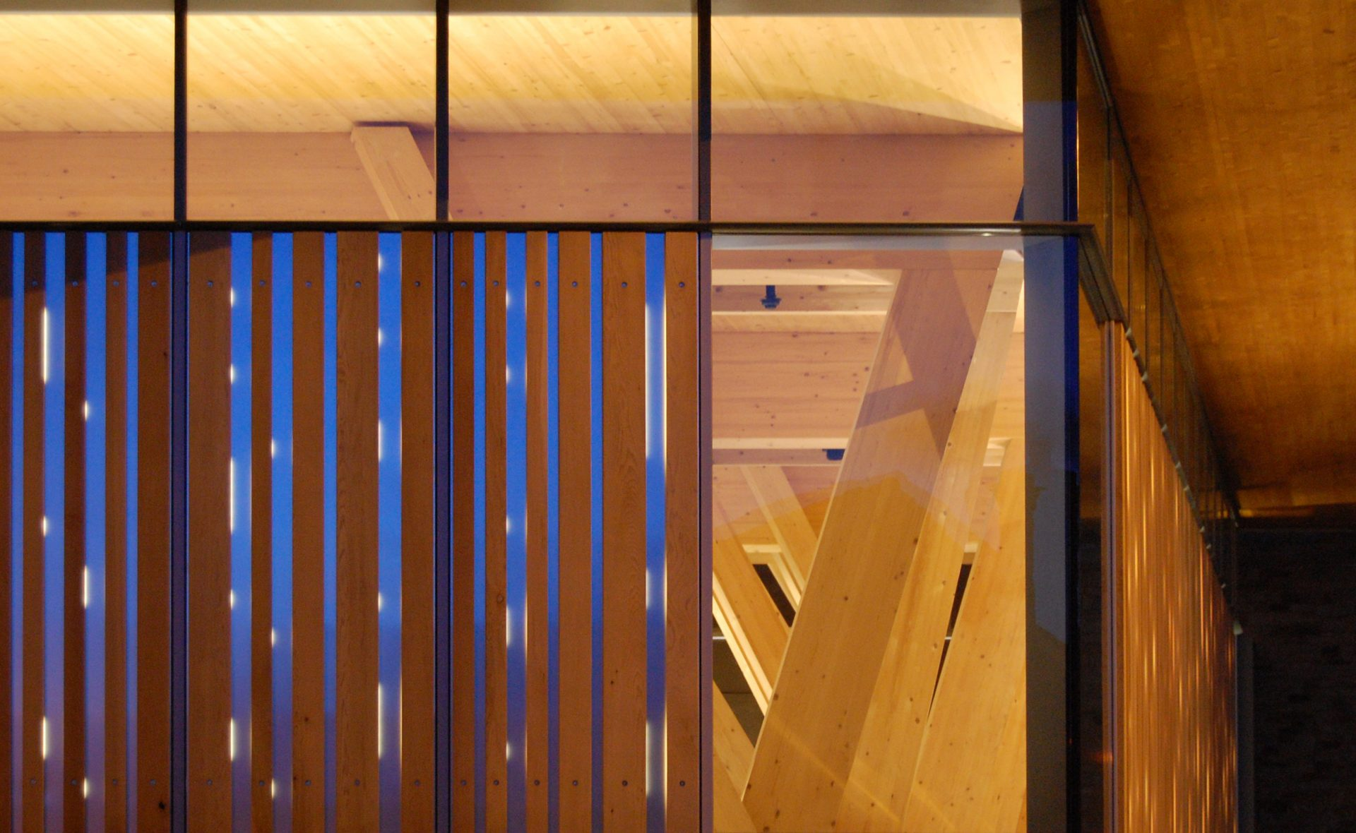 HCA Arts Space timber cladding and structure detail at night