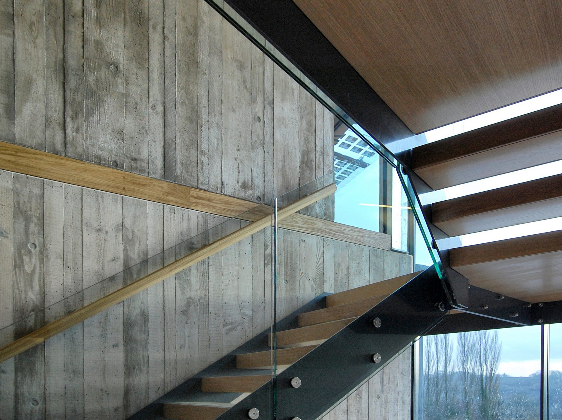 Limpley Stoke Eco-House Staircase In-situ Concrete Oak Steel Glass