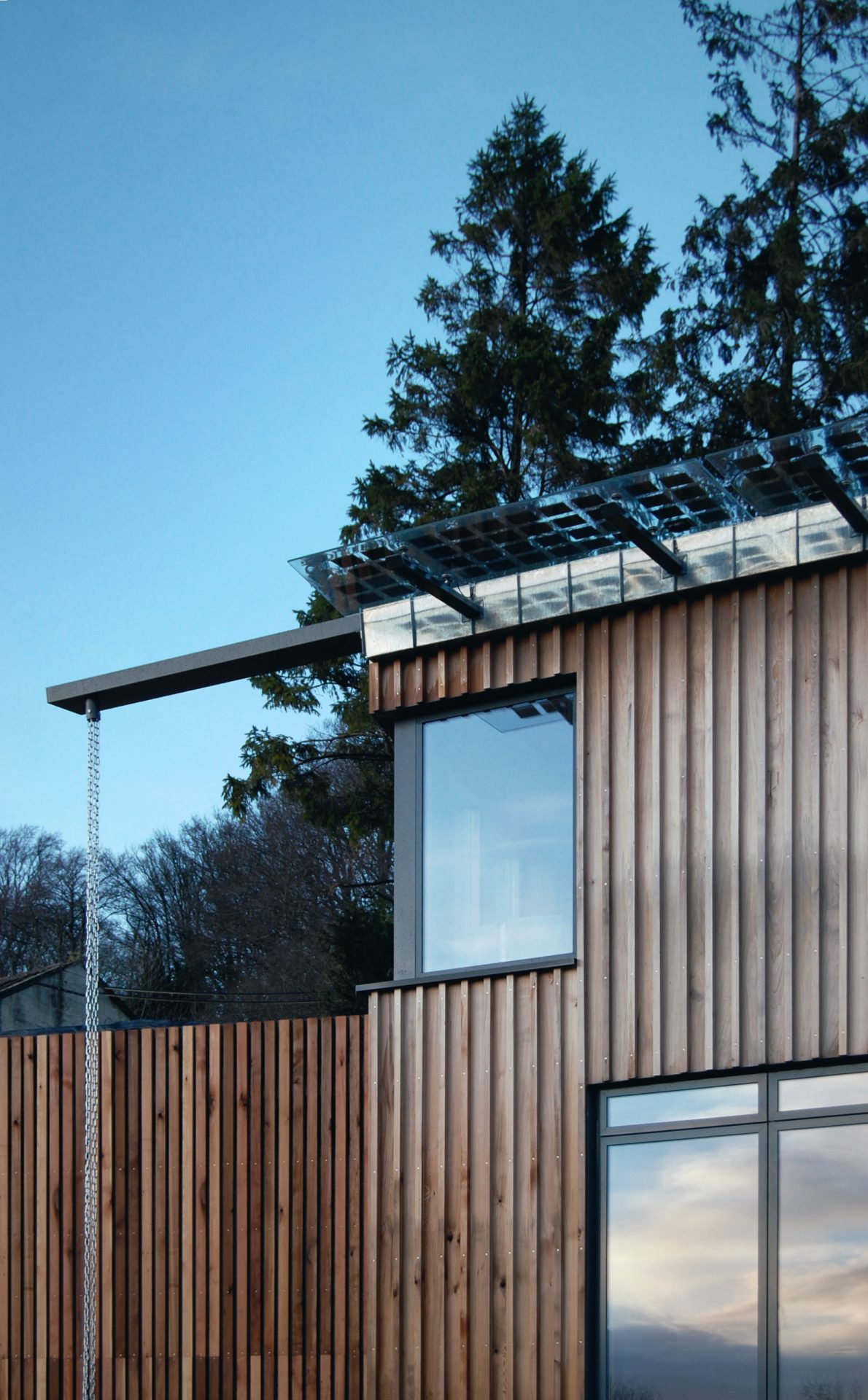 Limpley Stoke Eco-House Cedar Timber Cladding BIPV Chain Drain
