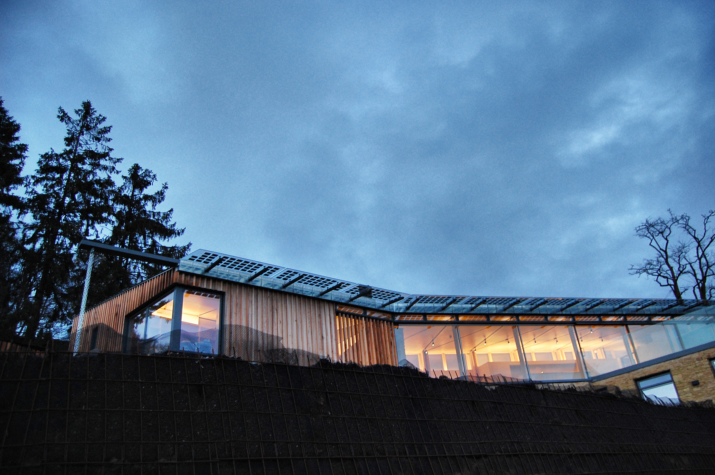 Limpley Stoke Eco-House Evening Cedar Stone Trees BIPV