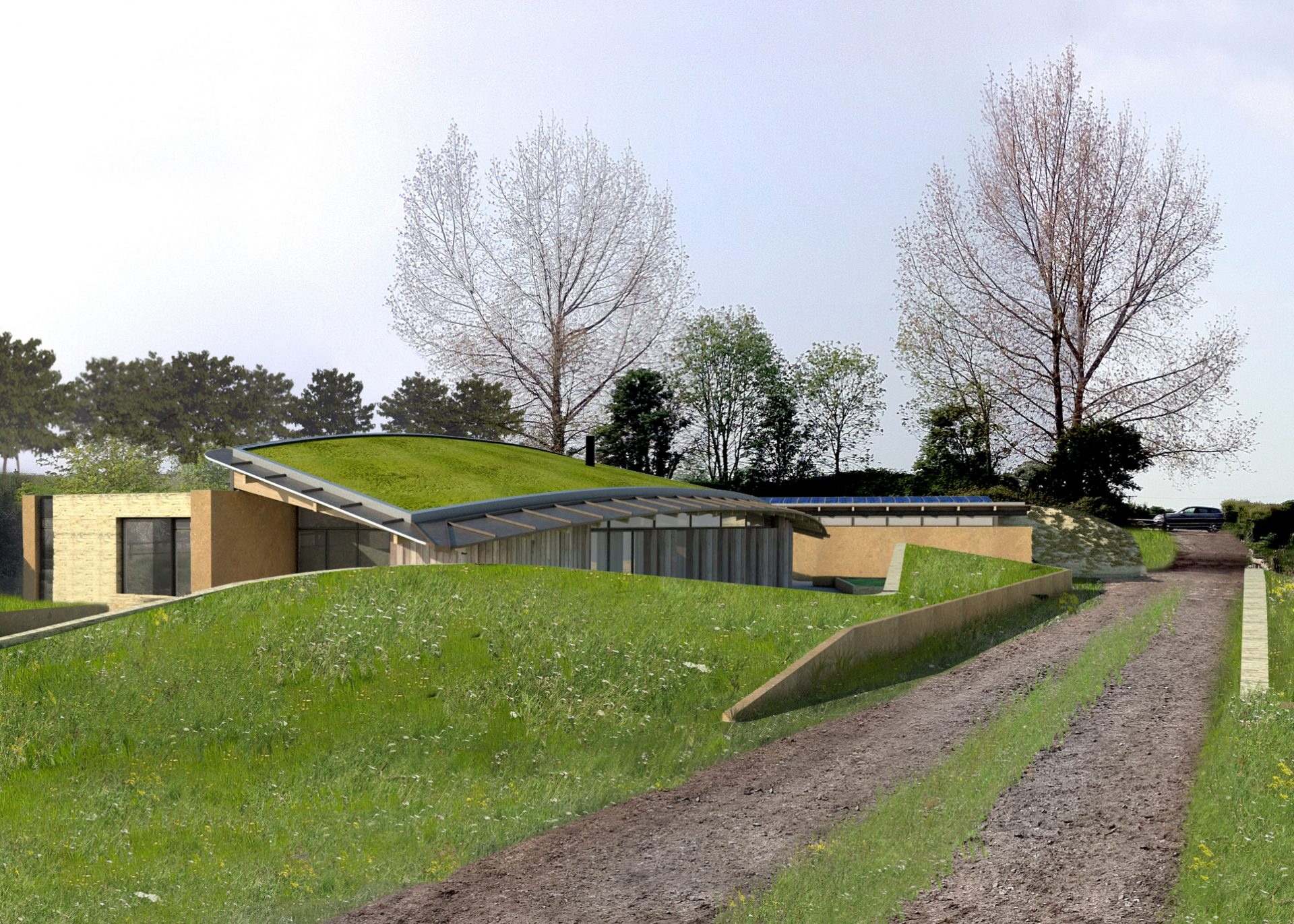 Theale Code 6 Eco House Green Roof Rammed Earth PPS7
