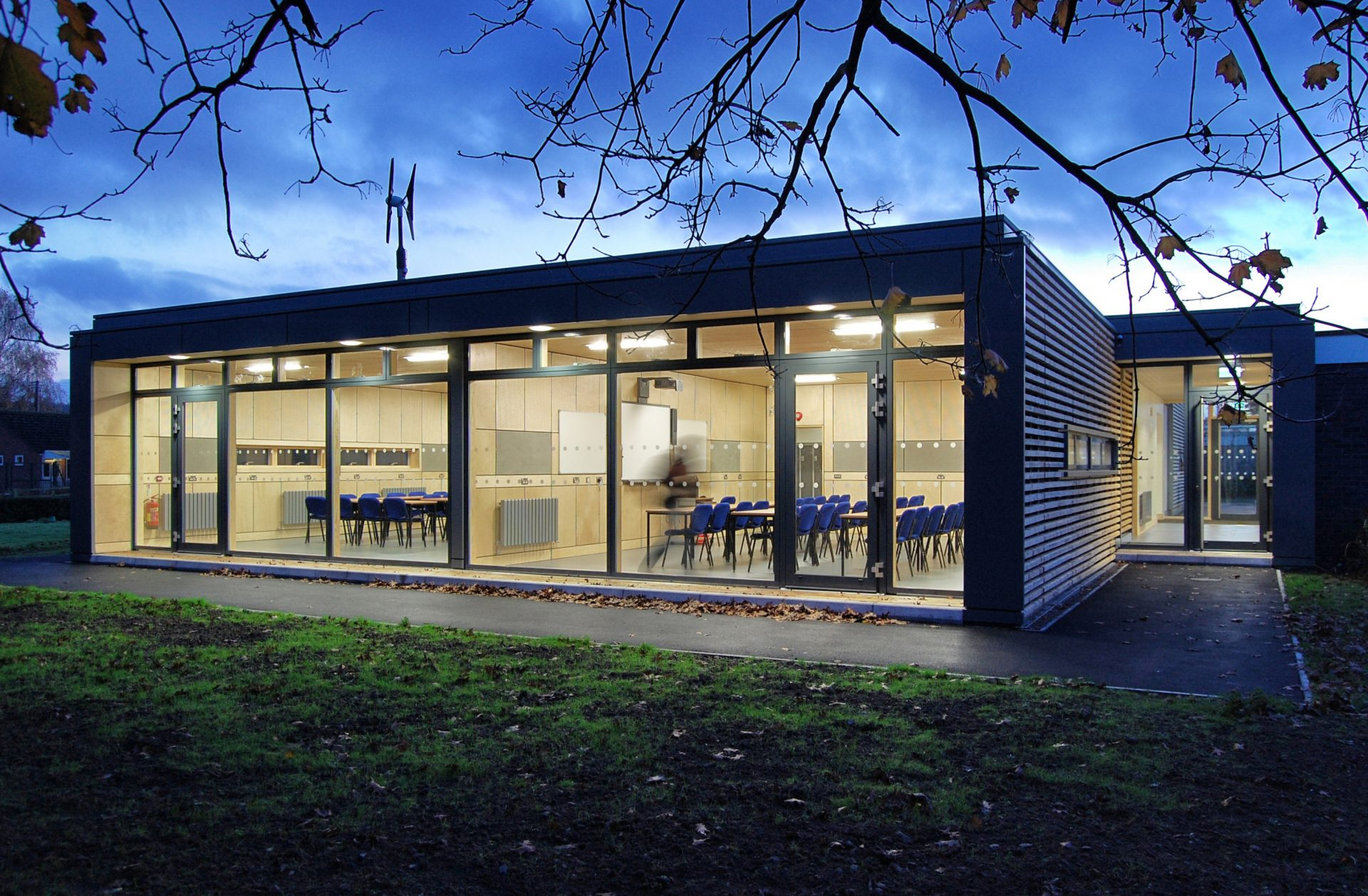 Holme Lacy Fast Track Classrooms Wind Turbine Plywood Panels Cedar Cladding