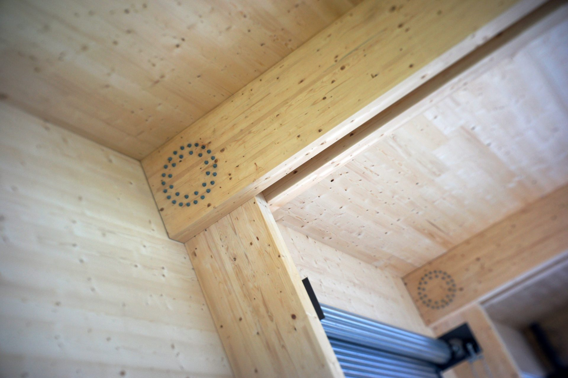 Holme Lacy Crosslam CLT Flat-Pack Workshop Connection Detail Bolts Laminated Timber Prefab Offsite