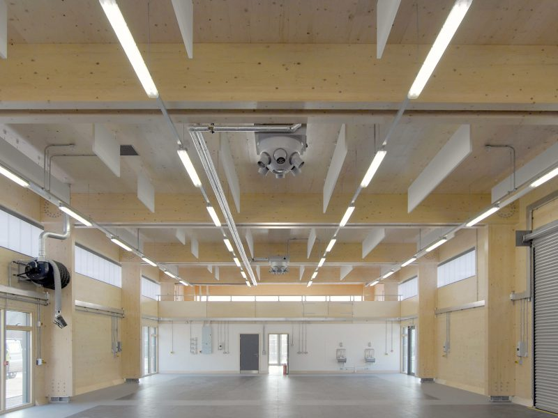 Prefab Offsite Holme Lacy Crosslam Flat-Pack Workshop Interior CLT Timber