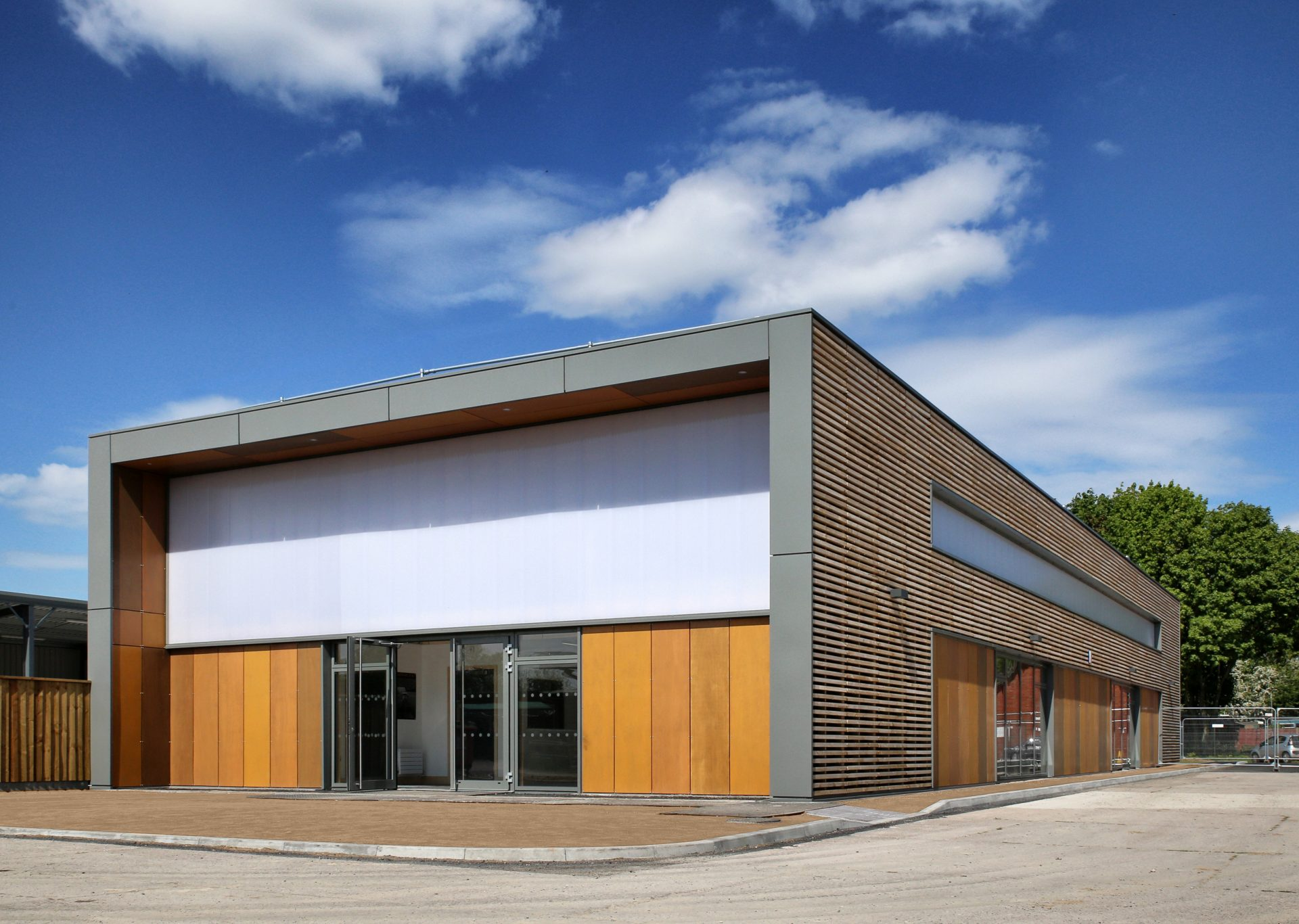 Prefab Offsite Holme Lacy Crosslam Flat-Pack Workshop Exterior CLT Cedar Plywood Polycarbonate Timber