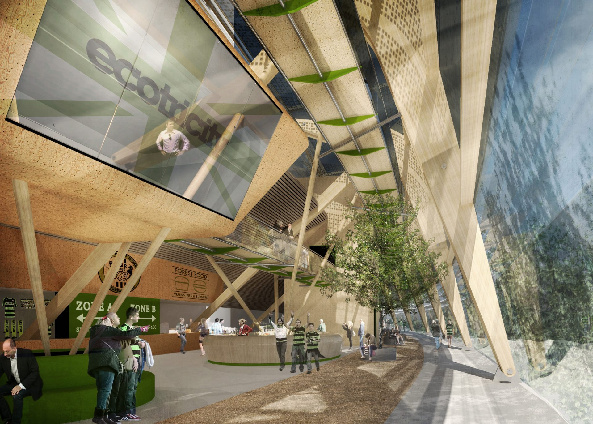 FGR Forest Green Rovers Ecotricity Eco Park Stadium Laminated Timber Frame Atrium Pods Trees