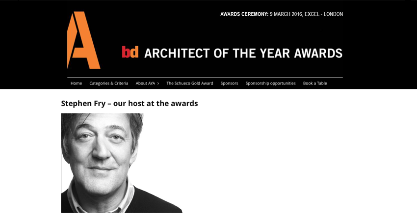 Stephen Fry BD AYA Architect of the Year Awards