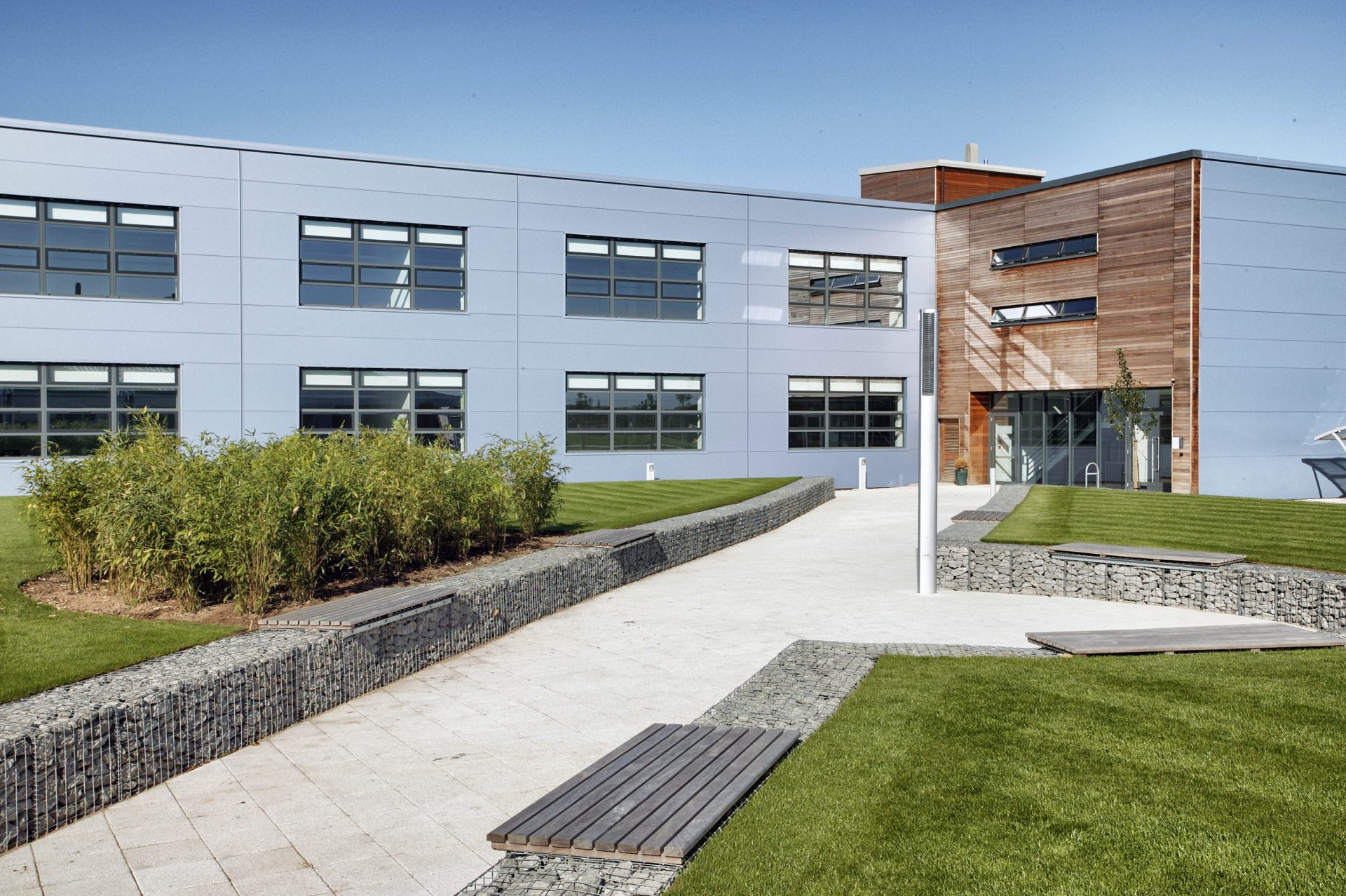 Oxford University Begbroke Science Park Timber Metal Cladding Gabion Grass