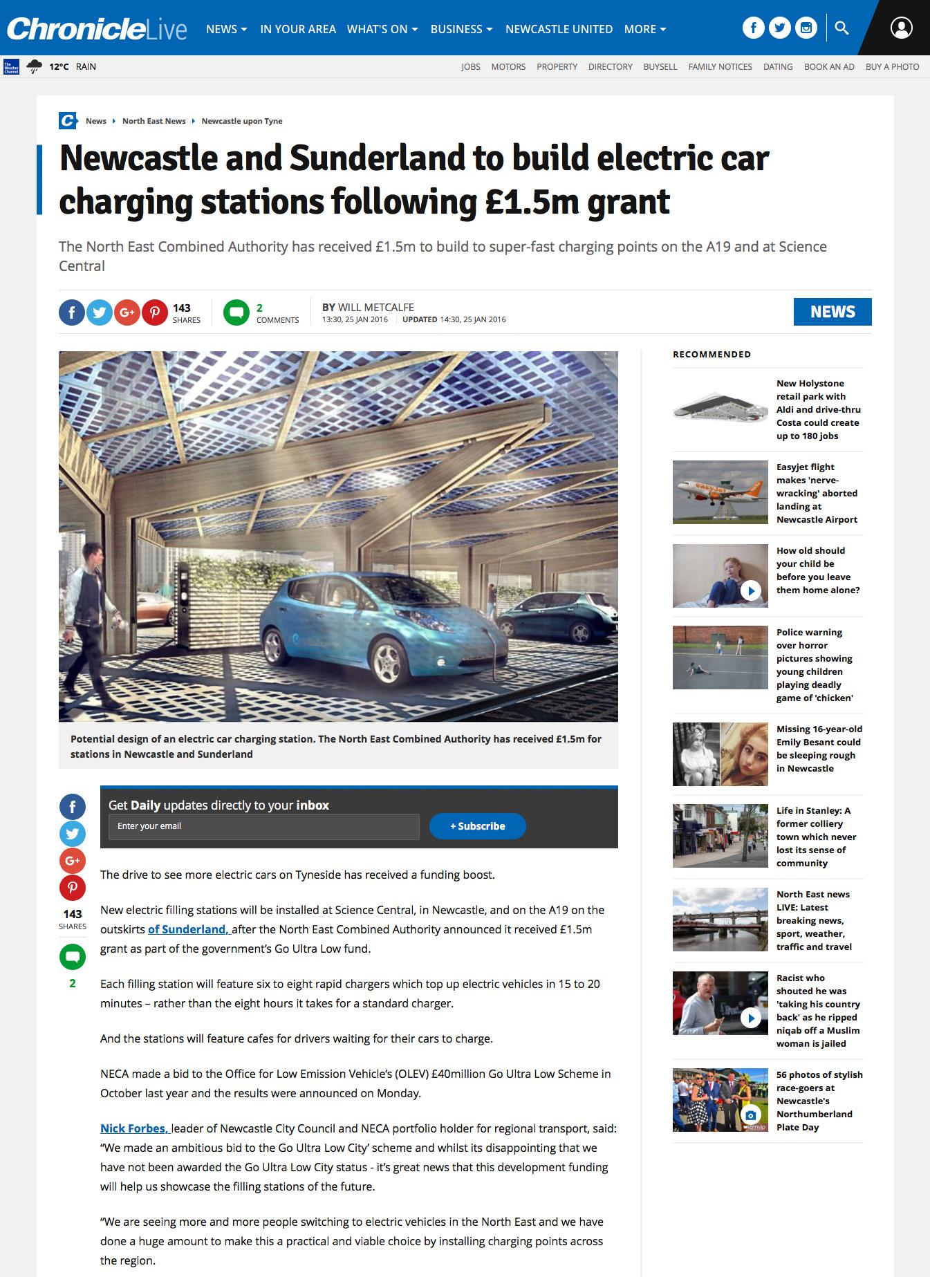 Newcastle Chronicle K:Port EV Charging Hub Canopy