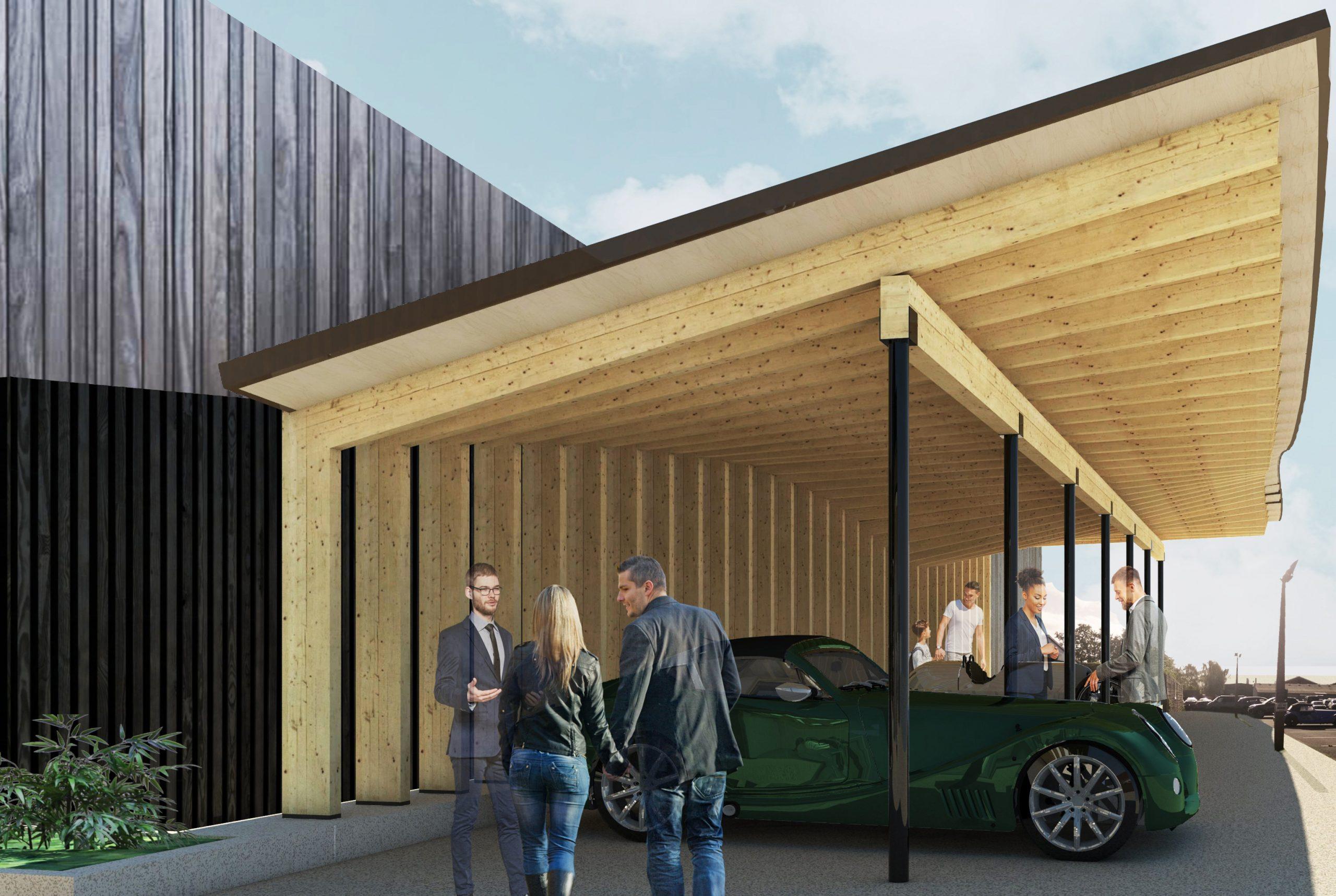 Laminated Timber Car Canopy EV Charging