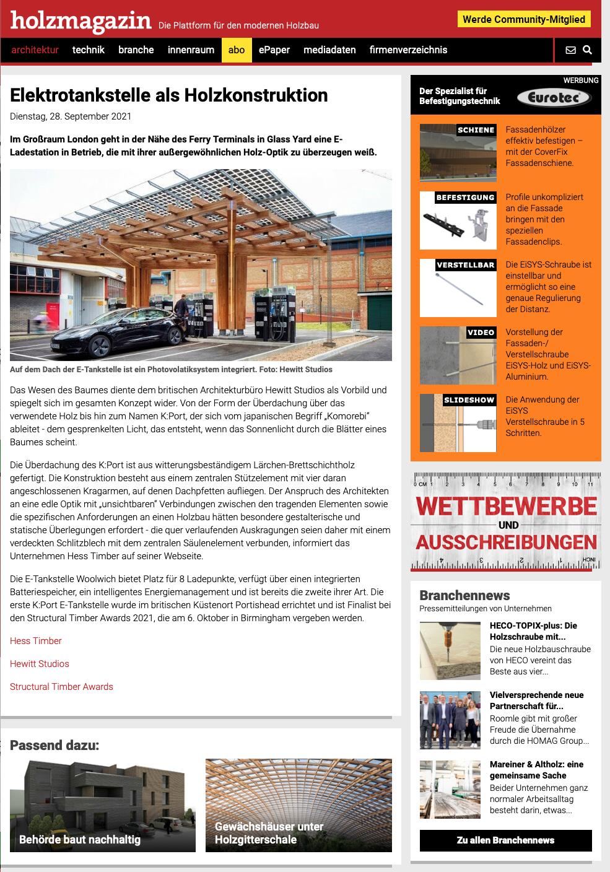 EV Charging Hub Woolwich Hess Timber